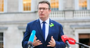 Labour Party leader Alan Kelly TD during a media conference at Leinster House in Dublin on Monday. Photograph: Gareth Chaney/Collins.