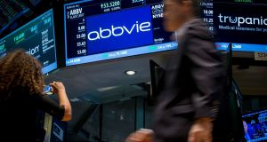 A screen displays the share price for pharmaceutical maker AbbVie on the floor of the New York Stock Exchange. File photo. Photograph: Reuters/Brendan McDermid/Files