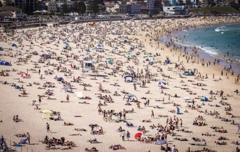 SUNNY DOWN UNDER: Bondi Beach heaves with visitors amid sunshine in Sydney, New South Wales, Australia. Photograph:  David Gray/AFP/Getty