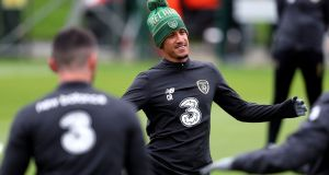 Callum Robinson during Monday's Ireland training session at the  FAI National Training Centre at Abbotstown. Photograph: Niall Carson/PA Wire