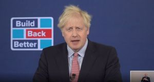 UK prime minister Boris Johnson delivers his address to the virtual Conservative party conference. Photograph: PA Video/PA Wire