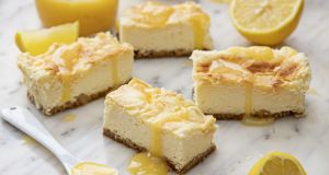 These lemon cheesecake bars are creamy and fluffy, with the addition of the sharp citrus notes. Photograph: Harry Weir Photography