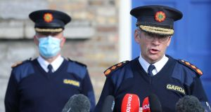 Garda Commissioner Drew Harris (right) with Deputy Commissioner for Policing and Security John Twomey (left) at a press briefing on Tuesday. Photograph Nick Bradshaw/The Irish Times