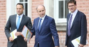 Tánaiste  Leo Varadkar, Taoiseach Micheál Martin and Minister for Climate Action Eamon Ryan, whose Government decided against accepting a Nphet recommendation that Level 5 restrictions should be introduced. Photograph: Sam Boal/RollingNews.ie