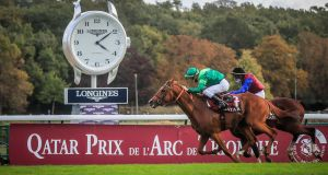 Italian rider Cristian Demuro on French horse Sottsass wins the 100th Qatar Prix de l'Arc de Triomphe race at the Paris Longchamps track, Paris, France, on Sunday. Photograph: Christophe Petit Tesson/EPA