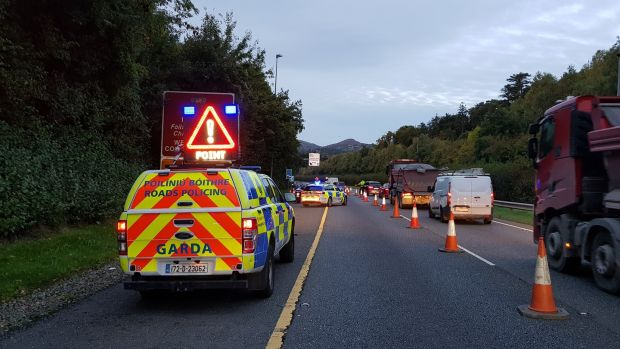 A Garda checkpoint on the N11 on Wednesday. Photograph: An Garda Síochána/Twitter
