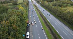 Gardaí have set up checkpoints on motorways in conjunction with coronavirus regulations. Photograph: An Garda Síochána/Twitter
