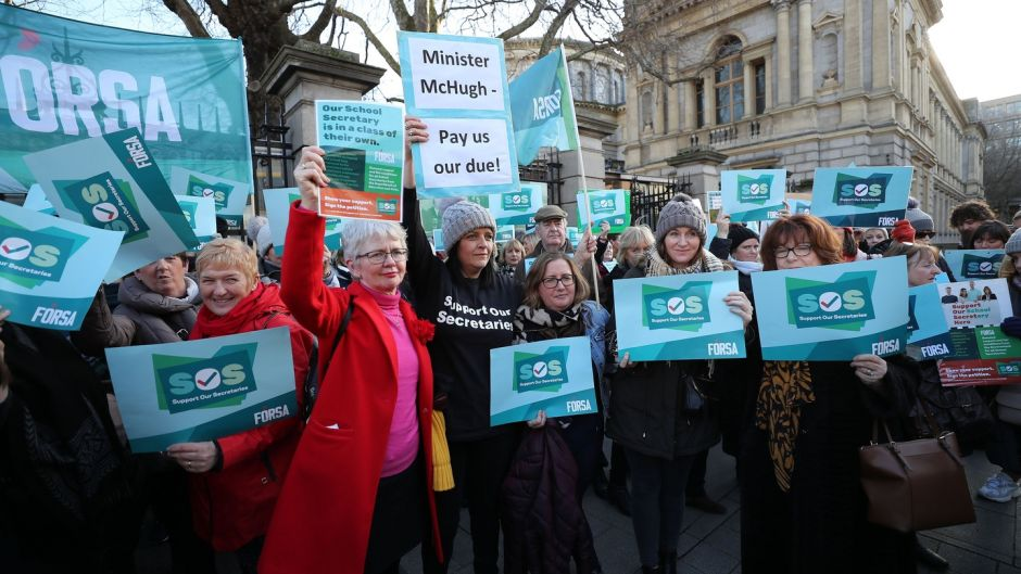 School secretaries gathered for a rally at the Dáil in January this year. Photograph Nick Bradshaw for The Irish Times