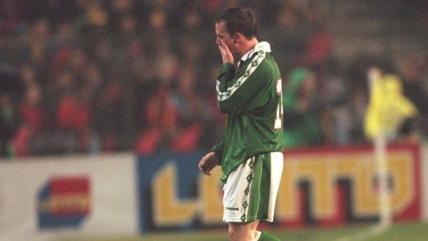 David Connolly is sent off during the playoff against Belgium in Brussels in 1997. Photograph: Billy Stickland/Inpho