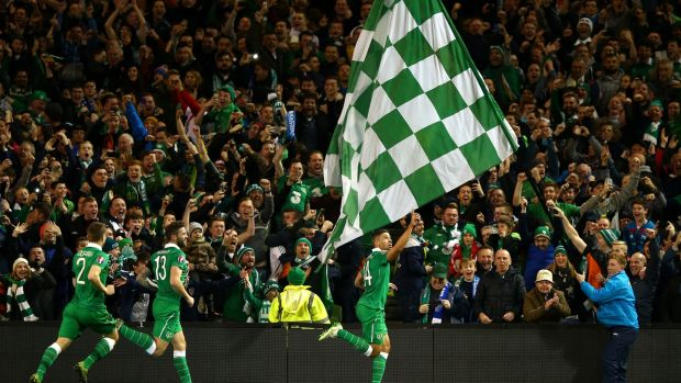 Jon Walters celebrates after scoring the opening goal from the penalty spot during the 2015 playoff against Bosnia and Herzegovina at the Aviva Stadium. Photograph: Ian Walton/Getty Images