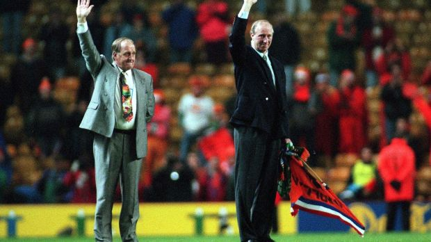 Jack Charlton and Maurice Setters wave a final farewell to the Irish fans after the defeat to the Netherlands at Anfield in December 1995. Photograph: James Meehan/Inpho