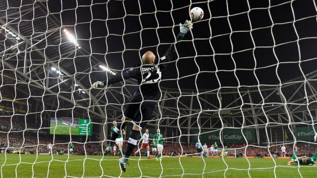 Christian Eriksen scores Denmark's second goal past Ireland goalkeeper Darren Randolph during the 2018 World Cup qualifier playoff second leg at the Aviva Stadium. Photograph: Mike Hewitt/Getty Images