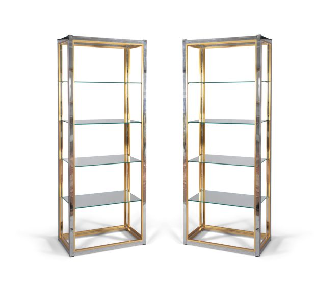 Pair of brass and chrome upright shelf units, €800-€1,200 apiece, to be auctioned at Adam's sale