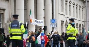 The protest outside the  Custom House Dublin on Saturday. Photograph:  Stephen Collins