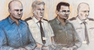 Court artist sketch  of Gheorghe Nica (left) and Eamonn Harrison (right) two of four men to face trial, at the Old Bailey in London, for being part of an alleged people-smuggling ring linked to the death of 39 migrants in a lorry in Essex. Sketch: Elizabeth Cook/PA Wire