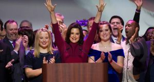 "Democratic governor of Michigan Gretchen Whitmer: ""This White House has a duty to call it out and they won't do it – in fact, they encourage it."" Photograph: Rena Laverty/EPA"