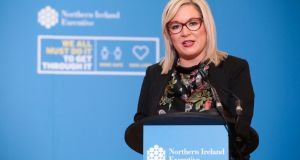 Northern Ireland's deputy first minister Michelle O'Neill is 'self-isolating' after a close family member tested positive for Covid-19. Photograph: Kelvin Boyes/Press Eye/PA Wire.