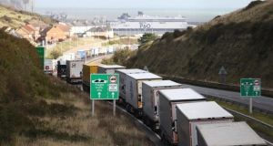 Lorries at Dover due to industrial action in Calais: 'I think we would be naive to think that they are just going to wave Irish trucks to the front of the queue out of some kind of good will gesture,' the Minister for Foreign Affairs said. Photograph: Gareth Fuller/PA