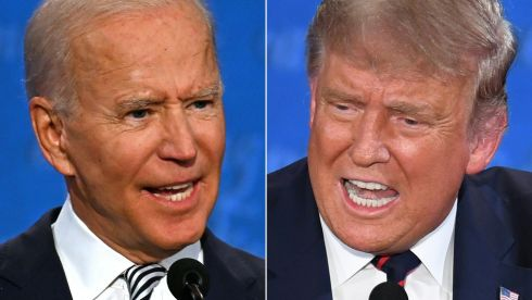 Joe Biden  and  Donald Trump  during the first presidential debate in Ohio. Photograph: Jim Watson/Saul Loeb/Getty