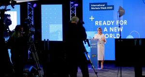 Julie Sinnamon, CEO of Enterprise Ireland, at the launch of International Markets Week, which saw more than 700 taking part in 2,000 virtual meetings to  plan their Covid-19, Brexit and market diversification strategies. Photograph: Maxwells