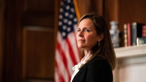Amy Coney Barrett, US president Donald Trump's nominee for the Supreme Court. Photograph: Anna Moneymaker/The New York Times