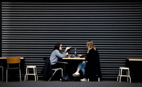 DINING AL FRESCO: A  view of  people enjoying eating outdoors in Phibsborough, Dublin. Photograph: Tom Honan/The Irish Times