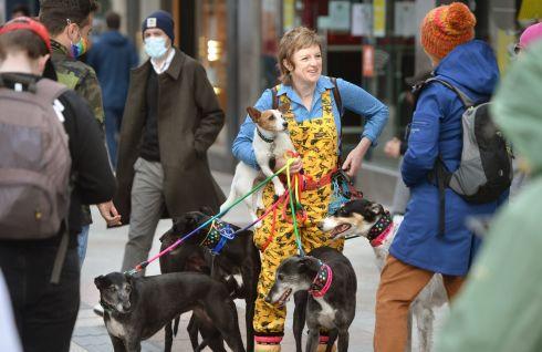 WHO LET THE DOGS OUT: Kate Donohoe, from Clonee, stops with her dog Atlas, and four others for a chat on Grafton Street, Dublin on Sunday. Photograph: Dara Mac Dónaill/The Irish Times