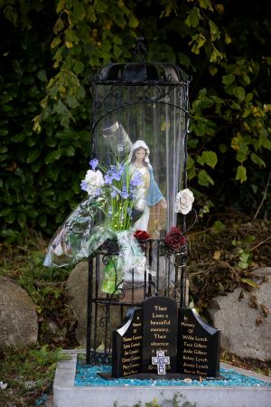FIRE MEMORIAL: A view of a memorial at the halting site in Carrickmines, Co Dublin five years on from a tragic fire that killed 10 people. Photograph: Tom Honan/The Irish Times