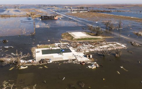 DELTA: A photo made with a drone shows damaged property in Cameron, Louisiana, USA on Saturday. Hurricane Delta came ashore nearby causing widespread damage and power outages to hundreds of thousands of people in Louisiana, Texas and Mississippi just six weeks after Hurricane Laura caused wiidespread damage. Photograph: Tannem Maury/EPA