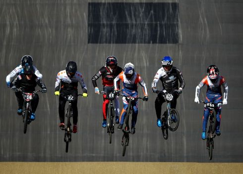 BMX: Tim Goossens (79) leads and goes on to win the Mens Elite Seniors race followed by Brian van Eeuwijk (56) in 2nd place and Roy Kater (63) in third during the Dutch National BMX Championships at Olympic Training Centre Papendal on October 11th in Arnhem, Netherlands. Photograph: Dean Mouhtaropoulos/Getty