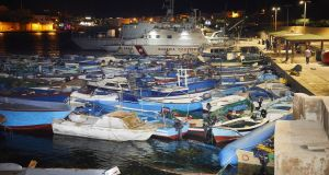 Boats seized from migrants  gathered inside the port at Lampedusa, Italy in August. File photograph: Lorenzo Palizzolo/Getty Images