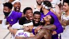 LeBron James celebrates with his Los Angeles Lakers teammates after winning the 2020 NBA Championship. Photograph: Getty Images