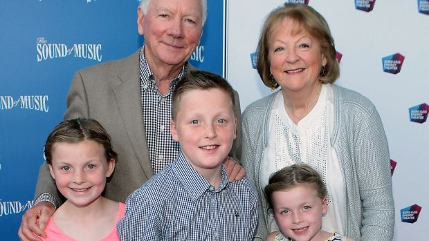 Gay Byrne and Kathleen Watkins with grandchildren Sadhbh, Cian and Saoirse. Photograph: Brian McEvoy