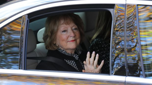 Kathleen Watkins pictured leaving the Pro Cathedral in Dublin after her husband's funeral. Photograph: Collins
