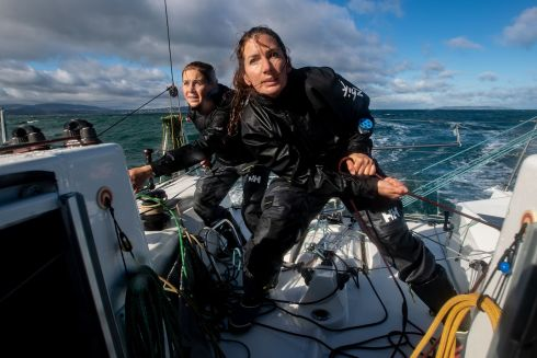 ALL HANDS ON DECK: Irish skipper Pamela Lee (right) of the RL Sailing Team will in mid-October set out to sail a Figaro Bénéteau III racing yacht around Ireland, in an attempt to set a first record for an all-female, doublehanded sailing circumnavigation. Here she is pictured with co-skipper, British sailor Catherine Hunt. The offshore circumnavigation of Ireland will take about five days and nights. Photograph: Bryan Keane/Inpho