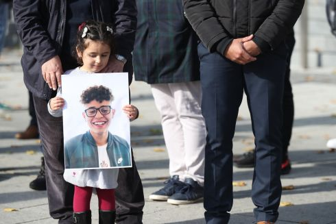 SENTENCING DUE: Family members, friends and supporters of the late Azzam Raguragui (18) gather outside the Criminal Courts of Justice on Monday. He died after suffering five stab wounds in Finsbury Park, Dundrum, in May 2019. A teenager was found not guilty of murder but guilty of manslaughter last month, and sentencing was due on Monday. Photograph: Nick Bradshaw
