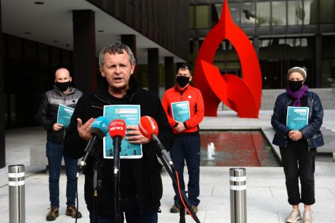 ALTERNATIVE BUDGET: People Before Profit TDs Richard Boyd Barrett (centre), Paul Murphy (left), Gino Kenny and Brid Smith launch their Alternative Budget 2021 outside the Department of Health on Baggot Street, Dublin. Photograph: Dara Mac Dónaill
