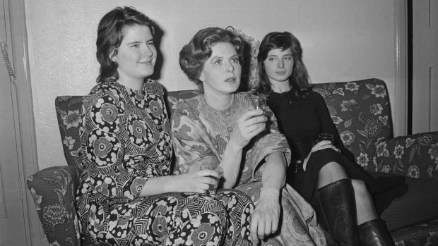 Isabella Rosselini (right) sits with her mother Ingrid Bergman and her sister Isotta Ingrid (left) in 1971. Photograph: P Felix/Daily Express/Getty Images)
