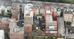 An aerial view of the property shows its overall footprint and potential scope for further development.