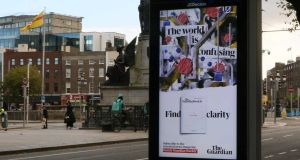 Guardian News & Media's 'find clarity' ad in Dublin city centre. Photograph: Kinetic Ireland.