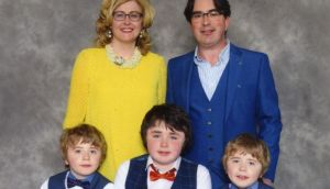 "Paula and Pádraic Naughton and the three boys: ""They are totally incredible and never, ever complain about anything,"" says Paula."
