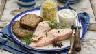 Butter poached salmon with sticky fennel jam.