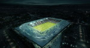 Computer-generated image of the proposed new GAA stadium at Casement Park, west Belfast. Photograph: Kelvin Boyes/Inpho/Presseye