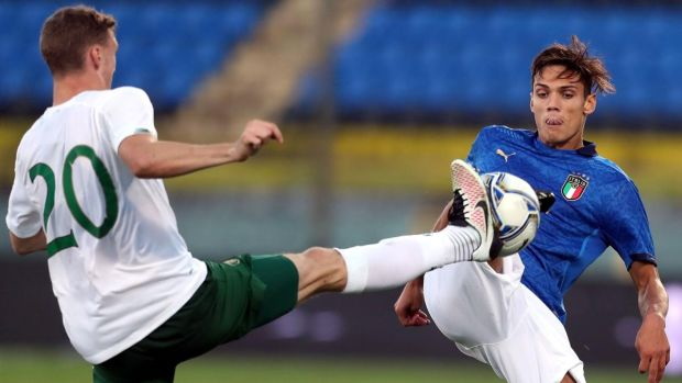 Samuele Ricci of Italy in action against Ireland's Jack Taylor during the game in Pisa. Photograph: Gabriele Maltinti/Getty Images