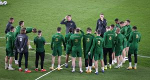 Ireland manager Stephen Kenny speaks to the team during a training session at the the Olympic Stadium in Helsinki ahead of Wednesday's Nations League game against Finland. Photograph: Matti Matikainen/Inpho