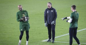 Ireland goalkeeping coach Alan Kelly shares a laugh with  Darren Randolph and  Mark Travers during a training session at Helsinki's Olympic Stadium. Photograph: Matti Matikainen/Inpho