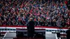 President Donald Trump speaks during a campaign rally in Johnstown, Pennsylvania. Photograph: Doug Mills/The New York Times