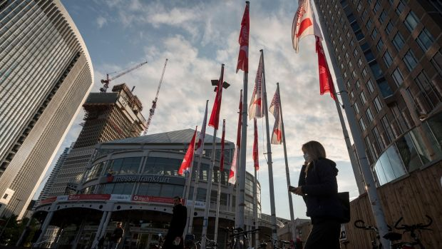 Flags at the 2020 Frankfurt Book Fair, the world's largest fair for books, taking place in Frankfurt in Germany on Tuesday on a smaller scale this year. Photograph: Photograph: Thomas Lohnes/EPA