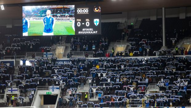 8,000 supporters were present for Finland's 1-0 win over Ireland. Photograph: Tomi Hänninen/Inpho