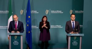 Taoiseach Micheál Martin and Tánaiste Leo Varadkar  speaking at a media briefing in Government Buildings. Photograph: Julien Behal